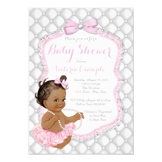 Ethnic Girl Pink Tutu Pearl Baby Shower Card
