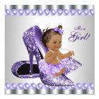 Ethnic Girl Purple Grey High Heel Shoe Baby Shower Card