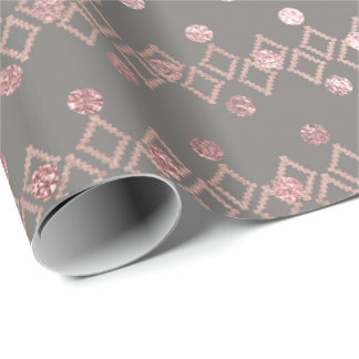 Ethnic Gray Pink Blush Glitter Dots Stripes Square Wrapping Paper