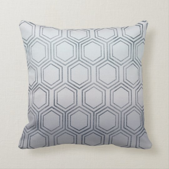 Ethnic Hexagon Honey Patches Silver Frosted Throw Pillow