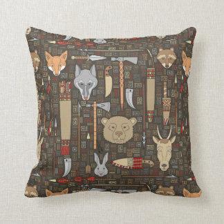 Ethnic Hunting Pattern Throw Pillow