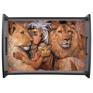 Ethnic Lion Goddess Egyptian African Serving Tray