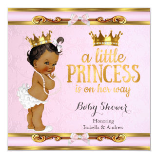 """Ethnic Little Princess Baby Shower Pink Gold 5.25"""" Square Invitation Card"""