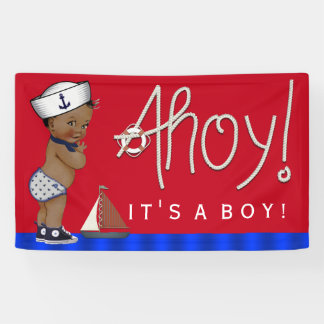 Ethnic Little Sailor Nautical Baby Shower Banner