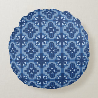 Ethnic Moroccan Motifs Seamless Pattern 2 Round Pillow