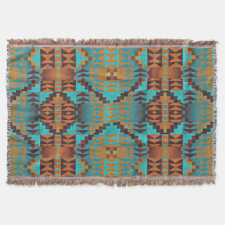 Ethnic Native American Indian Tribal Pattern Art Throw Blanket