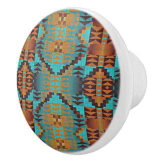 Ethnic Native American Indian Tribal Pattern Ceramic Knob