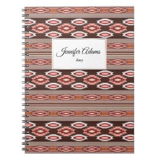 ethnic navajo southwestern  pattern. Name. Spiral Notebook