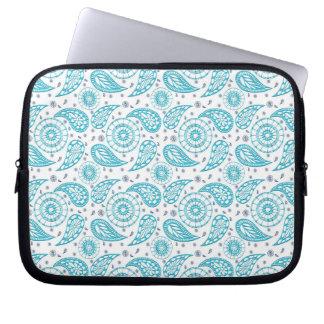ethnic paisley teal pattern. laptop sleeve