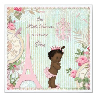 Ethnic Paris Princess Shabby Chic 1st Birthday Personalized Invitation Card