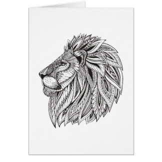 Ethnic Patterned Lion Head Card