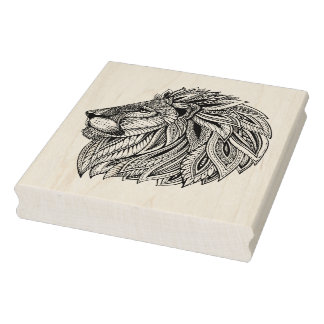 Ethnic Patterned Lion Head Rubber Stamp