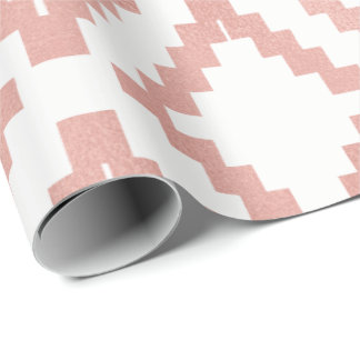 Ethnic Pink Rose Gold Blush White Geometric Wrapping Paper