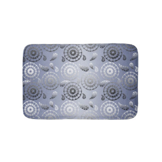 ethnic poho paisley grey pattern bath mat