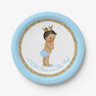 Ethnic Prince Baby Blue Gold Baby Shower Paper Plate