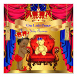 "Ethnic Prince Baby Shower Gold Bear Red Blue 5.25"" Square Invitation Card"