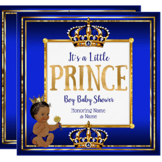 Ethnic Prince Boy Baby Shower Royal Blue Gold Card