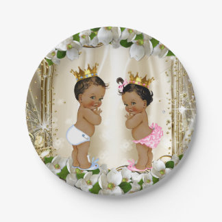 Ethnic Prince Princess Baby Shower 7 Inch Paper Plate