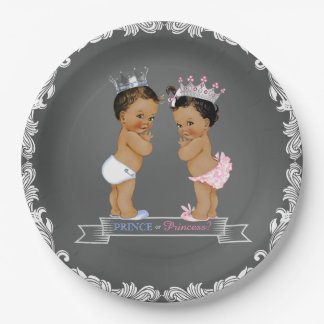 Ethnic Prince Princess Chalk Baby Shower Paper Plate