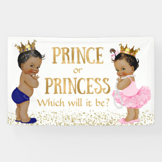 Ethnic Prince Princess Gender Reveal Baby Shower Banner
