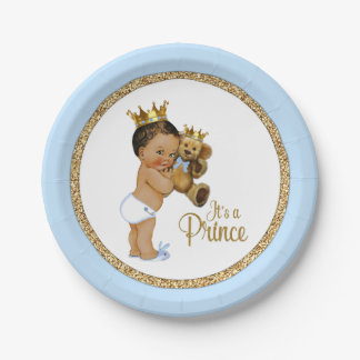 Ethnic Prince Teddy Bear Boy Baby Shower 7 Inch Paper Plate