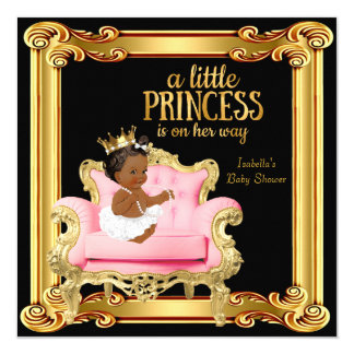 """Ethnic Princess Baby Shower Black Pink Gold Chair 5.25"""" Square Invitation Card"""