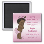 Ethnic Princess Baby Shower Save the Date Pink Square Magnet