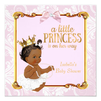 Ethnic Princess Baby Shower White Pink Gold Card