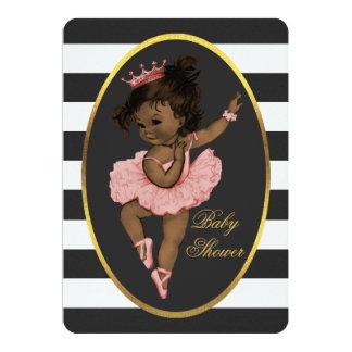 Ethnic Princess Ballerina Baby Black White Stripes Card