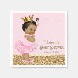 Ethnic Princess Ballerina Pink Gold Baby Shower Paper Napkin