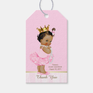 Ethnic Princess Ballerina Pink Tutu Baby Shower Gift Tags