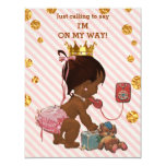 "Ethnic Princess On Phone Gold Confetti Baby Shower 4.25"" X 5.5"" Invitation Card"