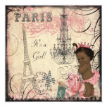 "Ethnic Princess Paris Eiffel Tower Baby Shower 5.25"" Square Invitation Card"