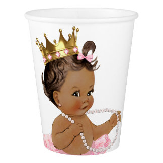 Ethnic Princess Pearl Tutu Pink Gold Baby Shower Paper Cup