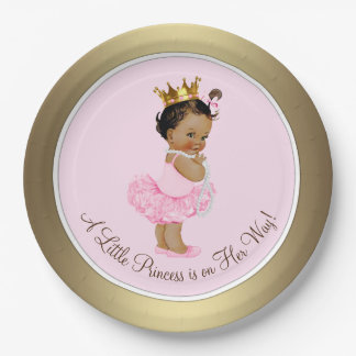 Ethnic Princess Pink Gold Baby Shower 9 Inch Paper Plate