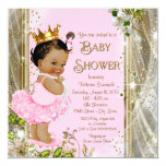 "Ethnic Princess Tutu Pink Gold Baby Shower 5.25"" Square Invitation Card"