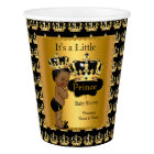 Ethnic Royal Black Gold Prince Crown Baby Shower Paper Cup