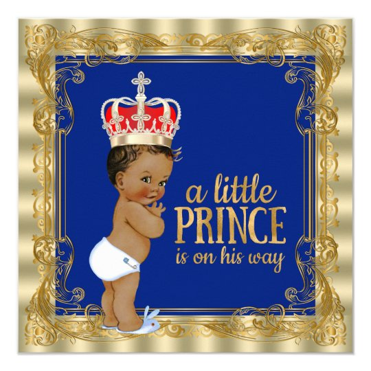"ethnic royal blue gold royal prince baby shower 5.25"" square, Baby shower invitations"