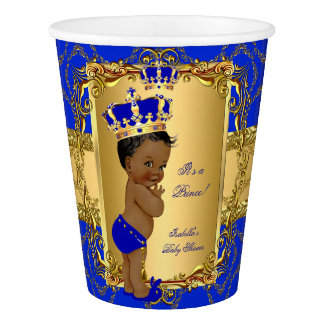 Ethnic Royal Blue Prince Crown Baby Shower Paper Cup
