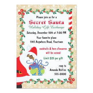 "Ethnic Secret Santa with Present 5"" X 7"" Invitation Card"