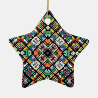 Ethnic Spirograph Ceramic Star Ornament