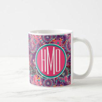 Ethnic Style Animal Pattern | Monogram Coffee Mug