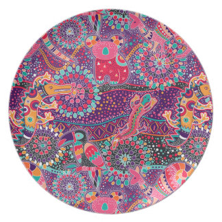 Ethnic Style Animal Pattern Party Plates
