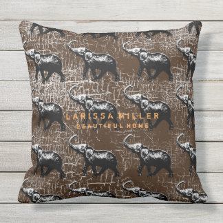 ethnic-style elephants distressed brown throw pillow