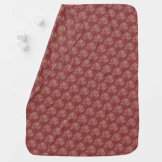 Ethnic Style Floral Mini-print Beige on Maroon Baby Blanket