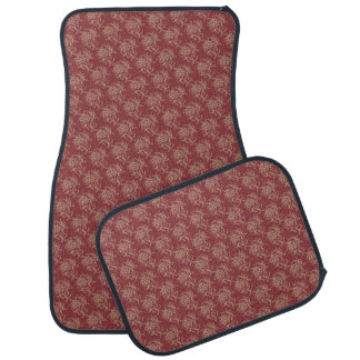 Ethnic Style Floral Mini-print Beige on Maroon Car Mat