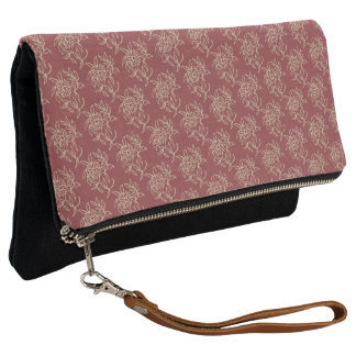 Ethnic Style Floral Mini-print Beige on Maroon Clutch