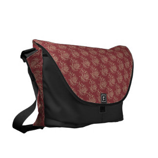 Ethnic Style Floral Mini-print Beige on Maroon Courier Bags