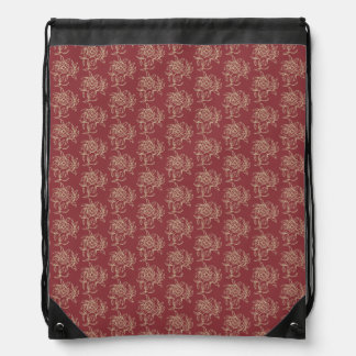 Ethnic Style Floral Mini-print Beige on Maroon Drawstring Bag