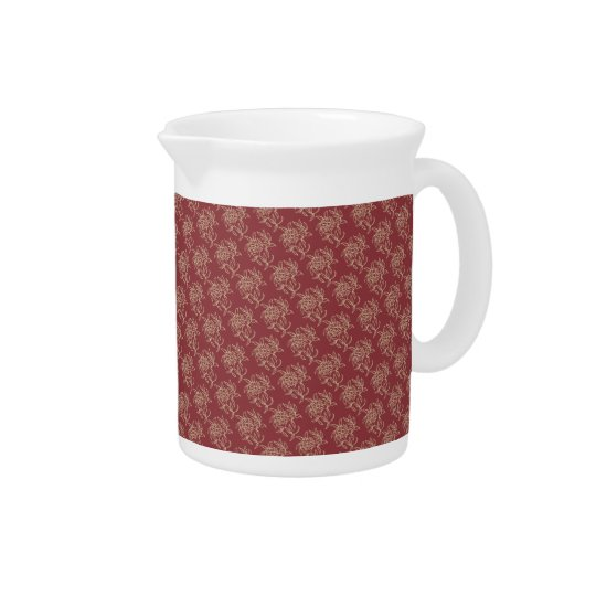 Ethnic Style Floral Mini-print Beige on Maroon Drink Pitchers